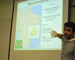 Marcelo Pires talks to students about the study abroad Brazil program and what they will be doing while there (Betsy Johnson/Photo Editor)