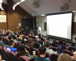 Stanley Maloy visits Saddleback College to deliver a lecture on the evolution of microbial diseases Friday, March 4. (Kurtis Rattay/ Lariat)