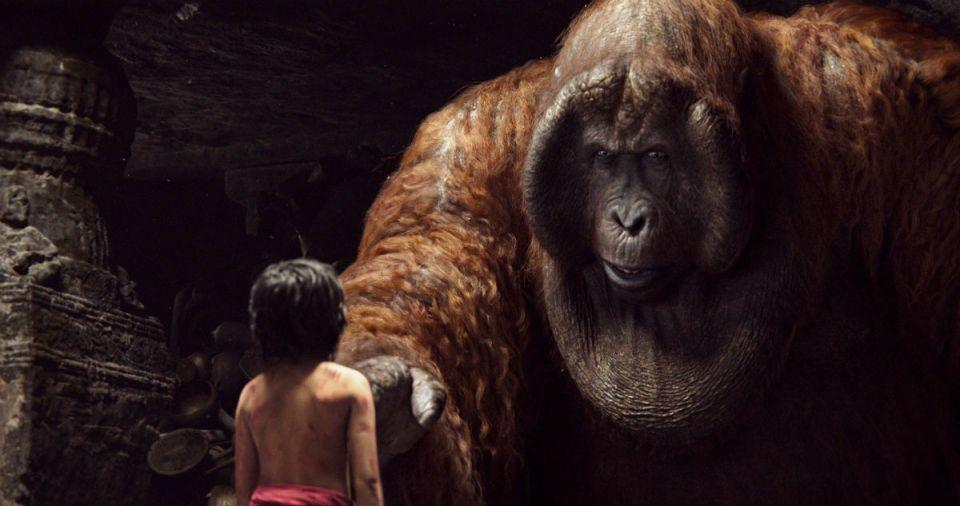King Louie intimidates Mowgli in his ancient temple. (Disney Studios)