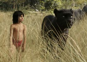 "Mowgli and Bhageera walk the plains in ""The Jungle Book."" (Disney Studios)"