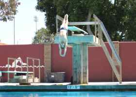 Saddleback College diver Jacob Swanson practices his dives in preparation for his meet. Swanson took first at the Orange Empire Conference championships giving him momentum entering the state competition. (Austin Weatherman/ Lariat)