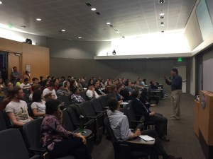 UCI professor Leo Chavez talking to Saddleback students about immigration and the U.S.-Mexico border at Latino Americans series on Wednesday, May 4. (Kurtis Rattay/ Lariat)