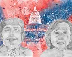 The first presidential debate broke records when 80 million americans tuned in to see Donald Trump and Hillary Clinton address the public. (Presidential candidate illustrations by Katie Groat/Lariat; Flickr/Nicolas Raymond. Used with a CC BY 2.0 license.)