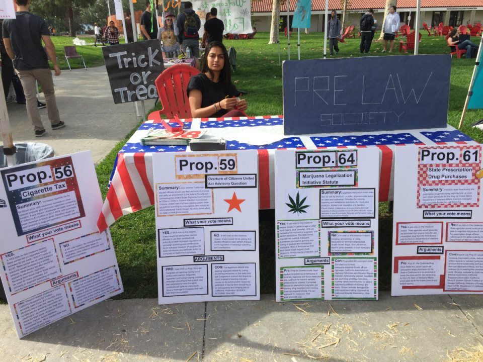 The club is stationed out in the quad from Monday-Thursday in order to provide students with the knowledge about how legislature effects them. (Mackenzie Quinn)
