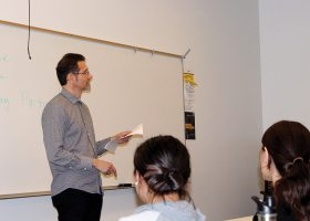 English Instructor Dr. Ray Zimmerman read in a Scottish accent poetry from the worst British poet William McGonagall. (Denisse Hobson)