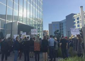 A crowd of Orange County residents gathered outside Walters' office in Irvine to get her to answer questions about President Trump's executive orders on January 31. (Lesley Naranjo / Lariat)