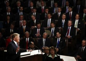 President Donald Trump giving his speech to congress. (Win McNamee/Getty Images)