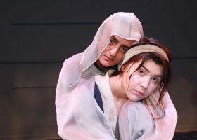 Atefeh Madi (in veil) as Princess Zehra/Sadness and Makenna Johnson as Ash Girl (Courtesy of Nina Welch)