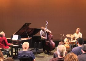 Ed Kornhauser (piano), Mackenzie Leighton (bass), and Matt Smith (drums), of the Matt Smith Neu Jazz Trio grooving at the McKinney Theatre at Saddleback College (Joseph Fleming/Lariat)