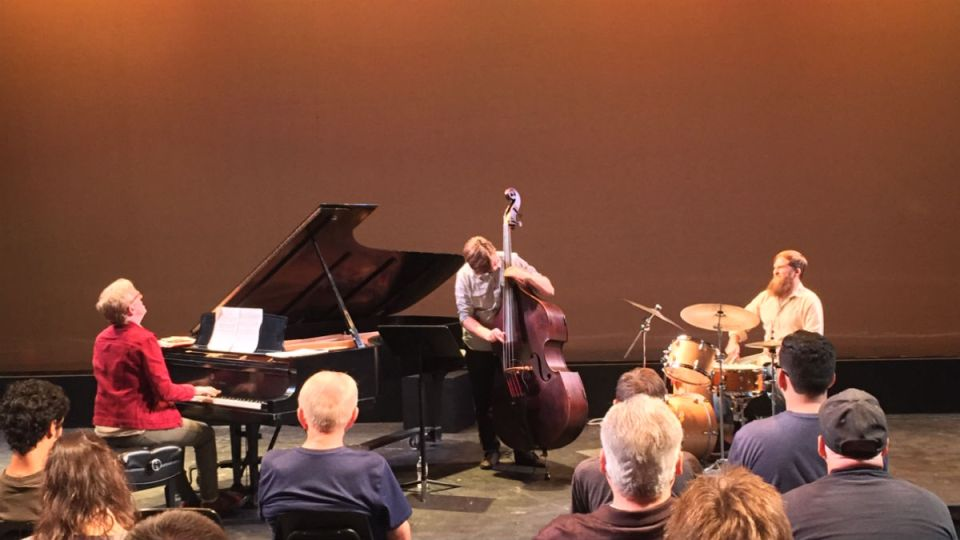 Ed Kornhauser (piano), Mackenzie Leighton (bass), and Matt Smith (drums), of the Matt Smith Neu Jazz Trio grooving at the McKinney Theatre at Saddleback College (Joseph Fleming/Lariat)