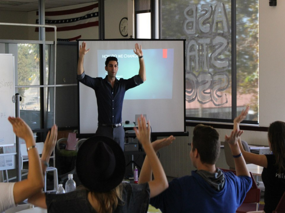 Dr. Shervin Tabrizi delivers talk about different stressors and changes that help to cope. (DJ McAllister/Lariat)