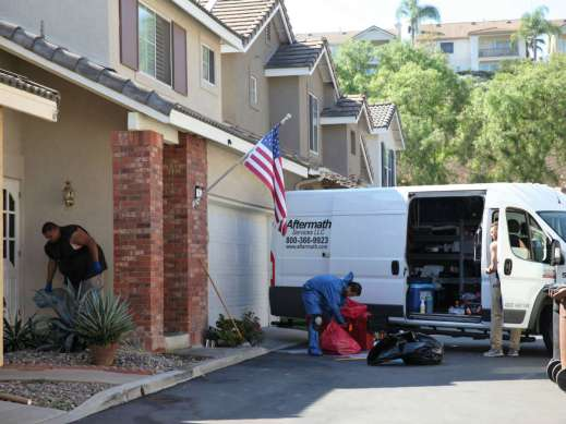 A trauma cleaning and bio-hazard removal crew cleans up after a shooting in Aliso Viejo (Adam Gilles/Lariat)