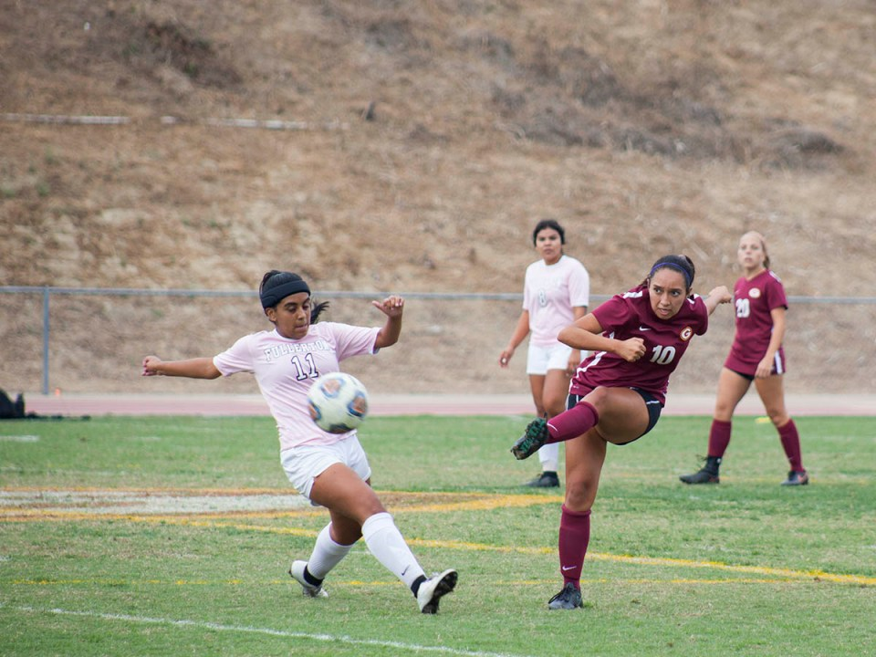 Midfielder Kenya Salgado beats Fullerton College's Juliet Mata to the ball on Tuesday, Oct. 31 at Saddleback College. The Lady Gauchos won 1-0. (Ally Beckwitt/Lariat)