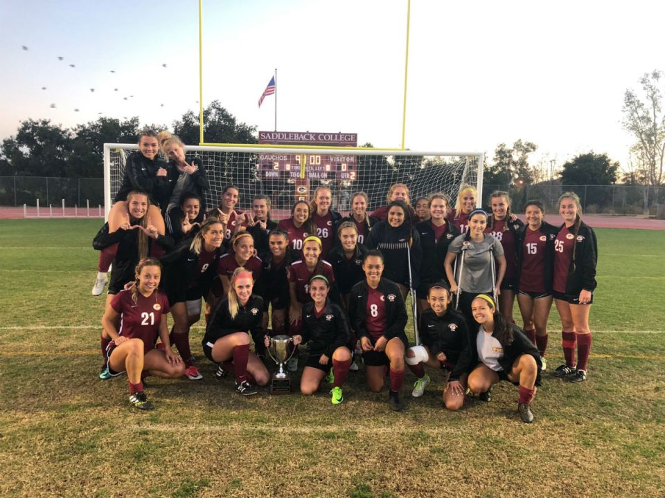 Saddleback College Women's soccer takes home the South Orange County College Cup in the final athletic event at Saddleback Stadium (Credit: BJ McNicol/Head Coach of Saddleback College Women's soccer)