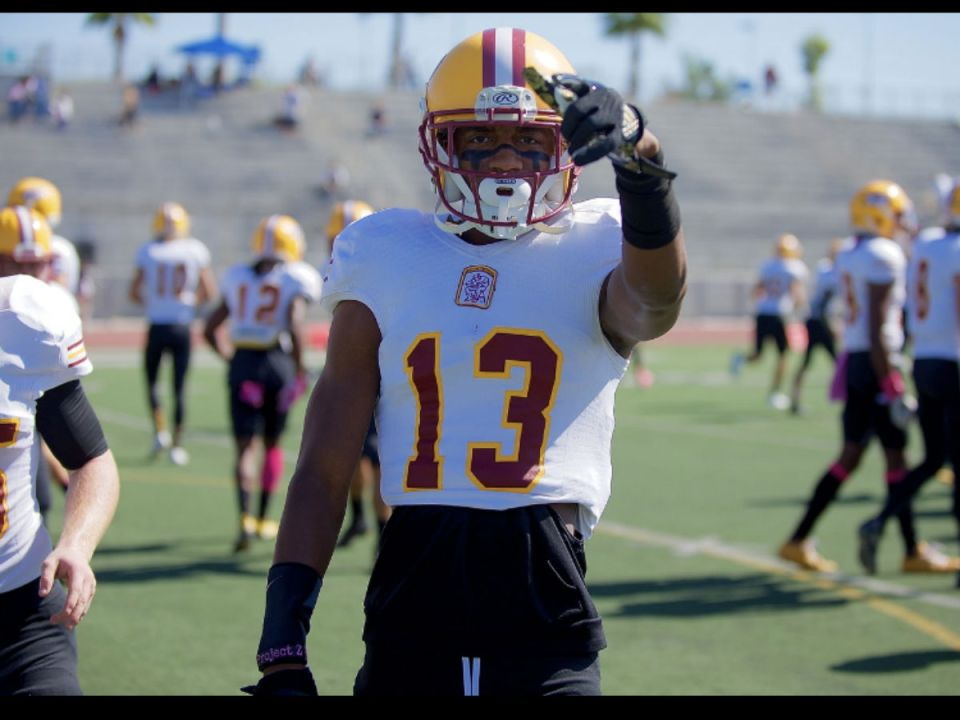 Sophomore Ty Freeman poses for the camera during the Saddleback College football practice (Colin Reef/Lariat)