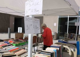 The Friends of the Library's annual book sale continues today in front of the LRC at Saddleback College. Books that normally sell for $2 each are available for a deal - $1 per bag. (Daniela Sanchez/Lariat)