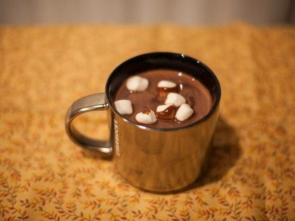 Red wine hot chocolate made with a syrah red wine and semisweet chocolate topped with marshmallows. (Ally Beckwitt/Lariat)