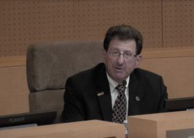 SOCCCD Trustee member David B. Lang voices his opinion on the Canvas conversion stipend at the Nov. 13 board meeting. (Still courtesy of SOCCCD).