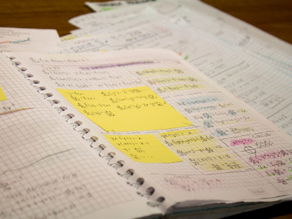 Calculus equations and note references lay across page of a graph notebook that is resting on loose leaf paper notes(Daniela Sanchez/ Lariat)