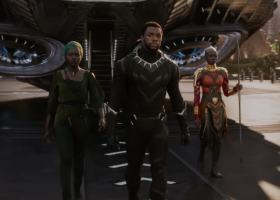 "T'Challa (center) alongside his sidekicks Nakia (left) and Okoye (right) in ""Black Panther"". (screenshot / Marvel Studios' Black Panther Official Trailer)"