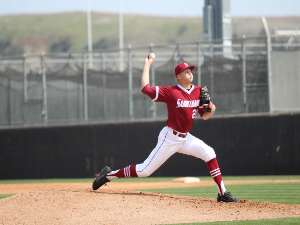 Tanner Brubaker in the stretch as pitches 9 innings striking 8 batters out. Courtesy of Cain Hernandez
