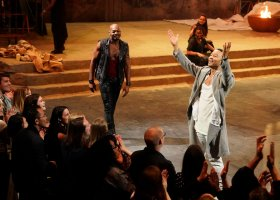JESUS CHRIST SUPERSTAR LIVE IN CONCERT -- Pictured: (l-r) Brandon Victor Dixon as Judas, John Legend as Jesus -- (Photo by: Virginia Sherwood/NBC)