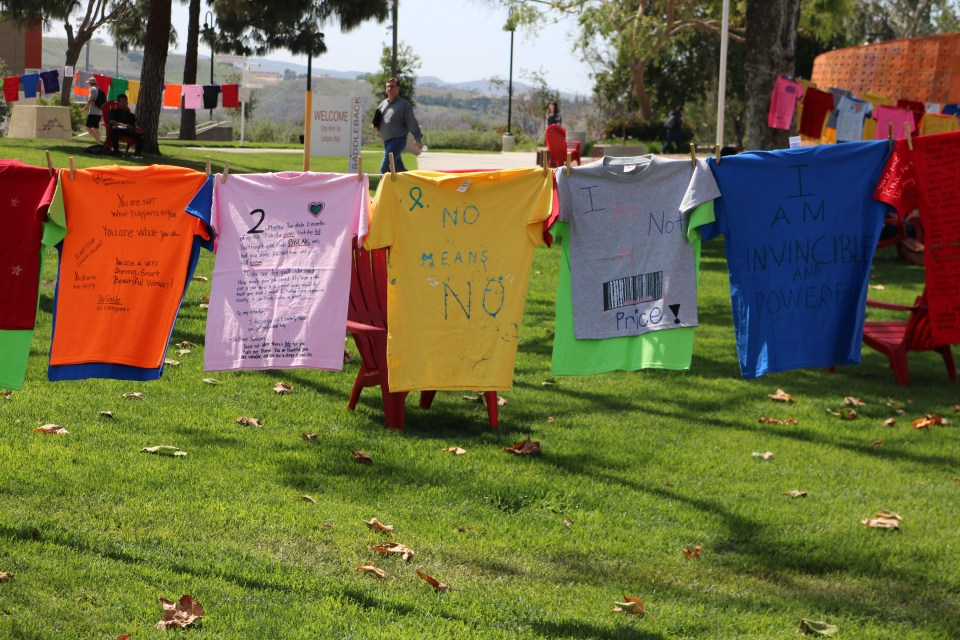 The picture of shirts above are color coded to show the form of abuse and whether the victim survived their abuse situation. Photograph taken by Lizzie Williams.