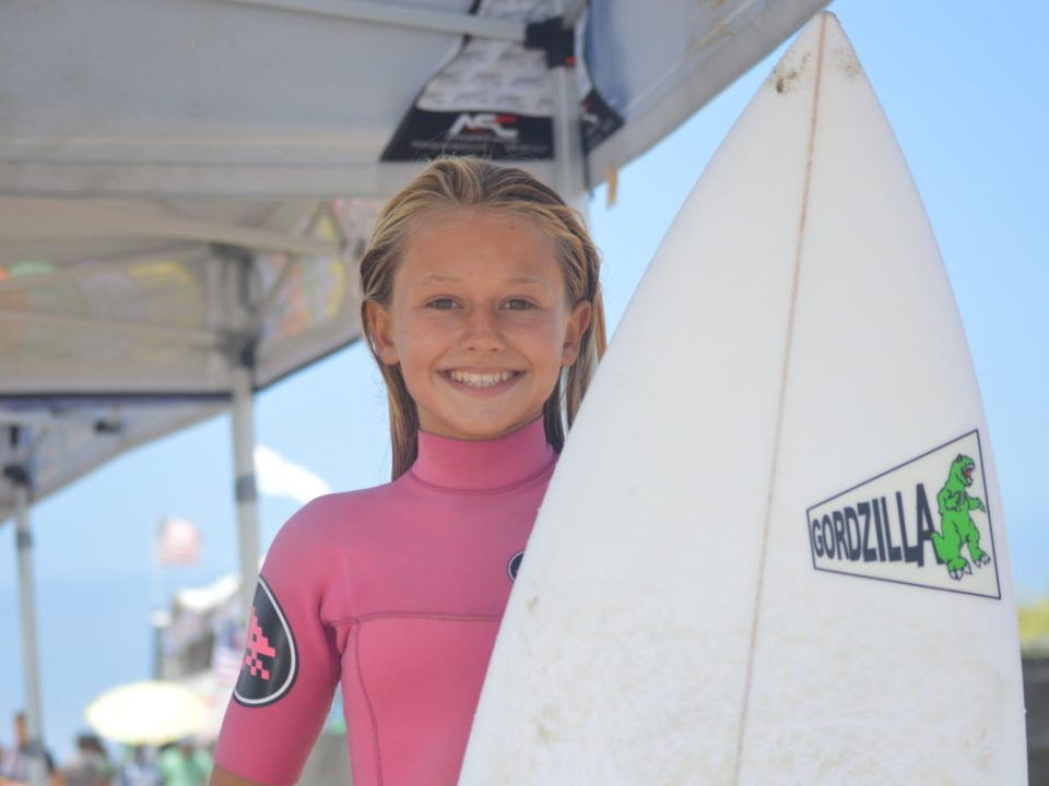Surfer Bree Smith competed in final of the girls 12 and under at Lowers June 20. (Andrea Clemett/Lariat)