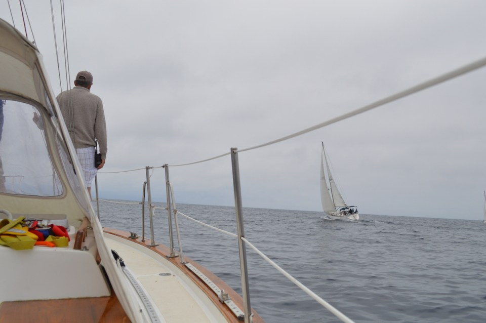 Crew member John taking his turn of lookout duties aboard Bonnie Seas. (Andrea Clemett/Lariat)