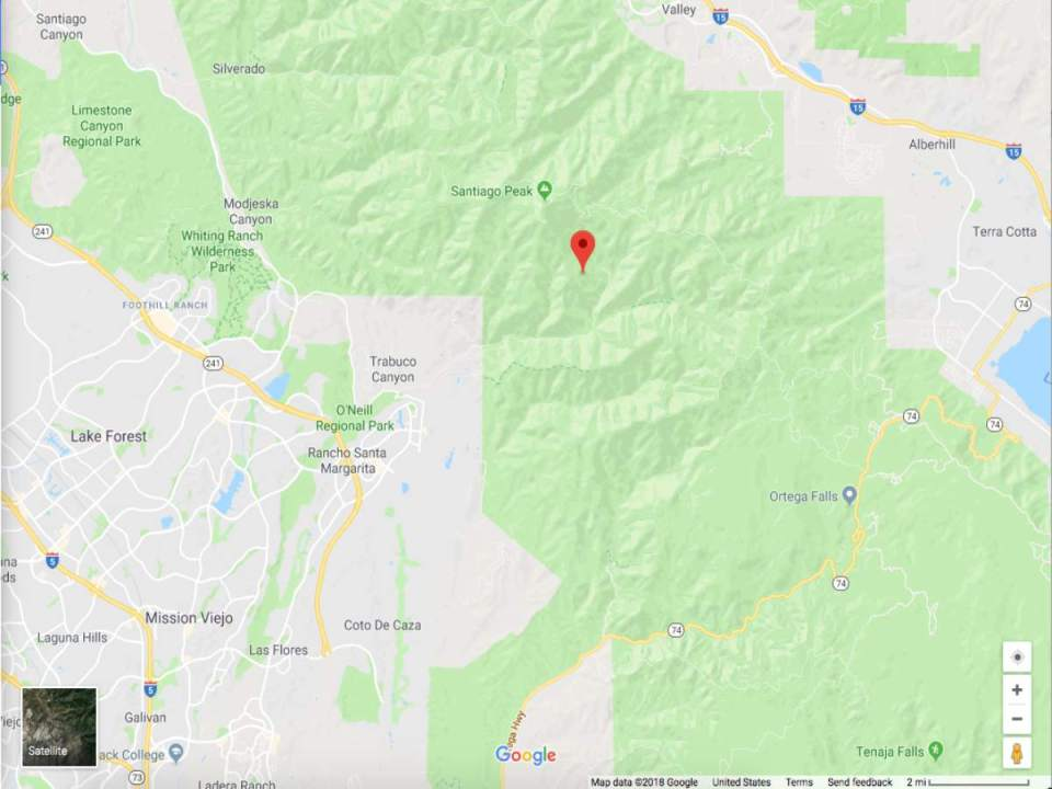 The Holy fire located in Holy Jim and Trabuco Canyon at 33.691, -117.521. (Google Maps)
