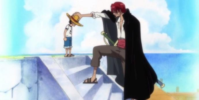 guardare One Piece: Shanks dona il cappello  di paglia a Rufy