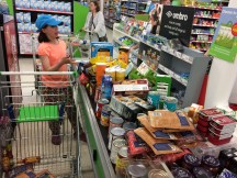 Overwhelming the checkout clerk with shopping trip 1 of ??.