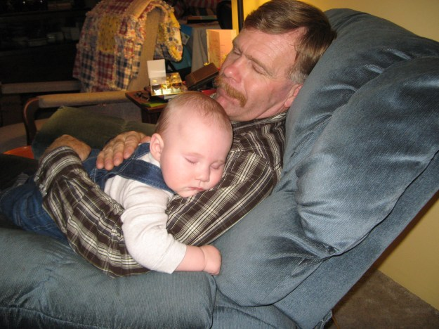 Exhausted with Grandpa at the end of the evening.