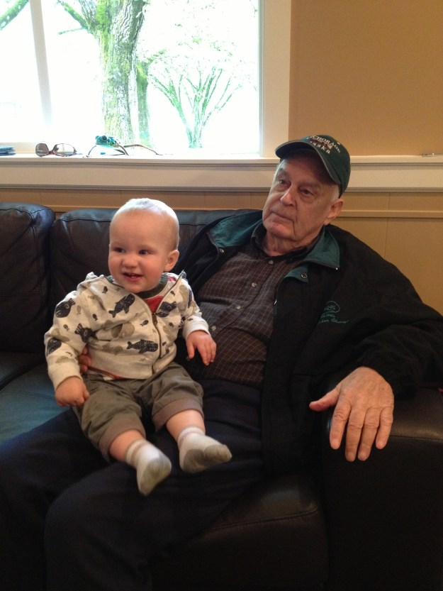 Chilling inside with Great Grandpa Thiessen.
