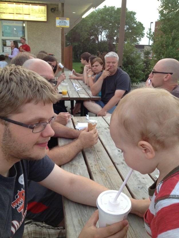 Calvin enjoyed Tim's milkshake.