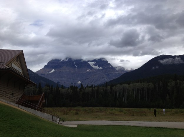 Mandatory pit stop at Mt. Robson. Not too clear of a day.