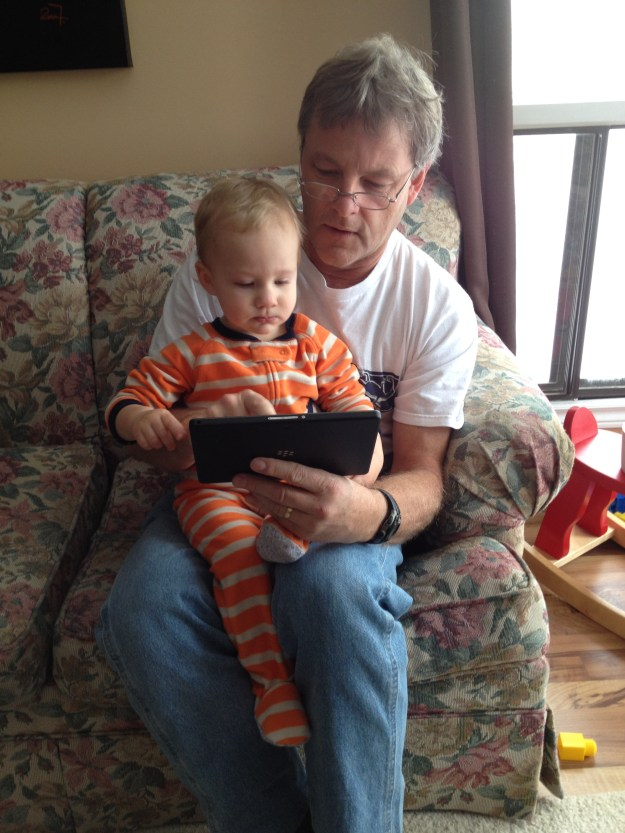 Grandpa occupying Calvin with his tablet. This may or may not have become a problem later on...