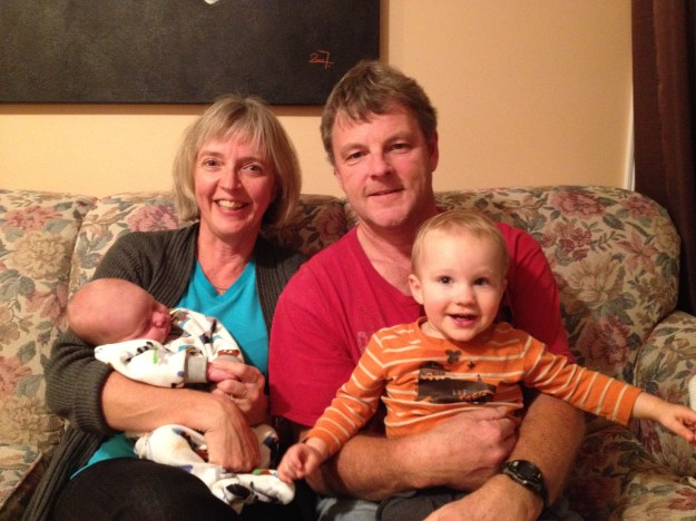 Grandpa and Grandpa Sevenhuysen with their prairie grandsons.