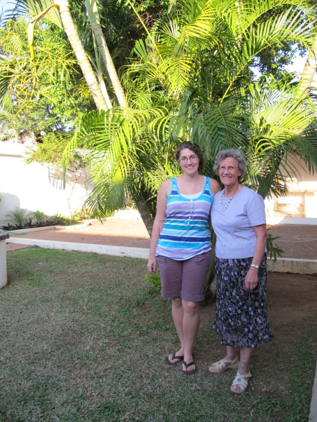 Oma and me in the backyard of the house where we stayed.