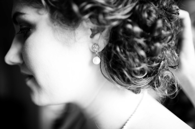 My Something Borrowed...earrings my friend wore at her own wedding.
