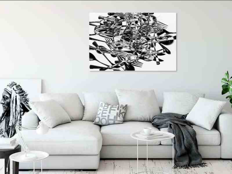 Print on canvas of flatware abstract compostion on a living room wall by Mark LaRiviere painter and photographer