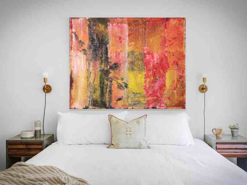 Mark Laurence LaRiviere abstract painting over a bed
