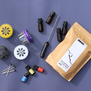 small candle making kit, soy way, fragrance oils, thermometer, candle dye, candle wicks