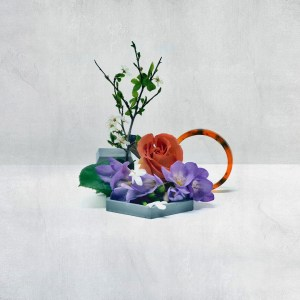 fresh flowers with and circle of amber