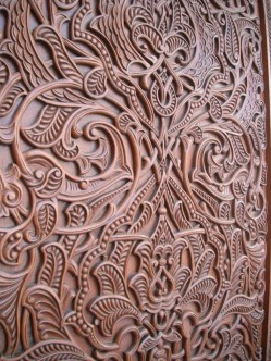 Intricate wood work inside the Grand Mosque