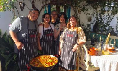 Chefs unite, paella cooking at La Rosilla.