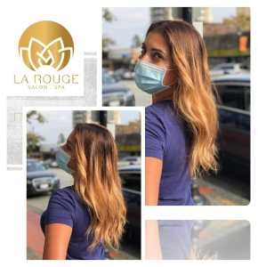Ladies golden tone highlights and waves