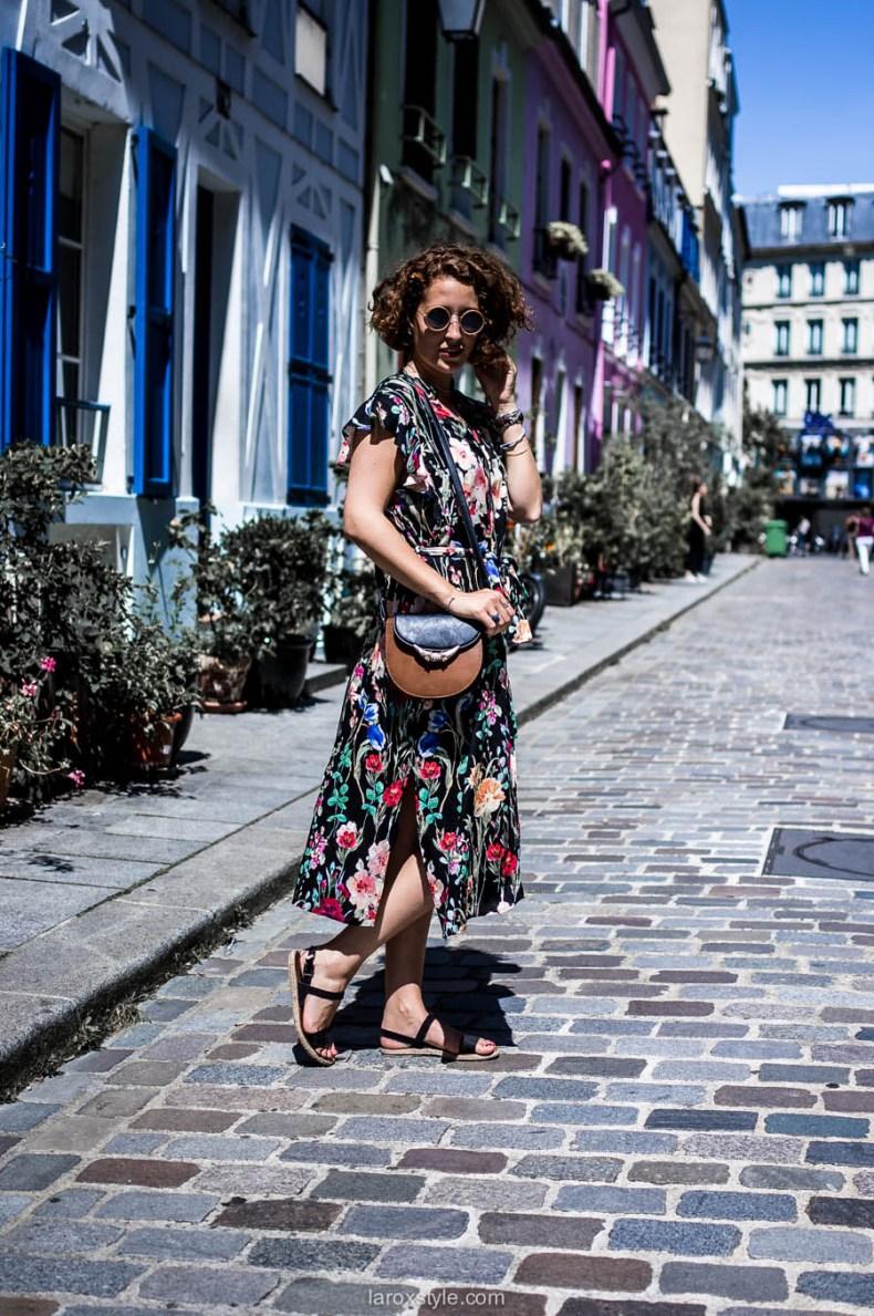 Paris - rue cremieux - robe longue fleurie - laroxstyle - blog mode lyon-24