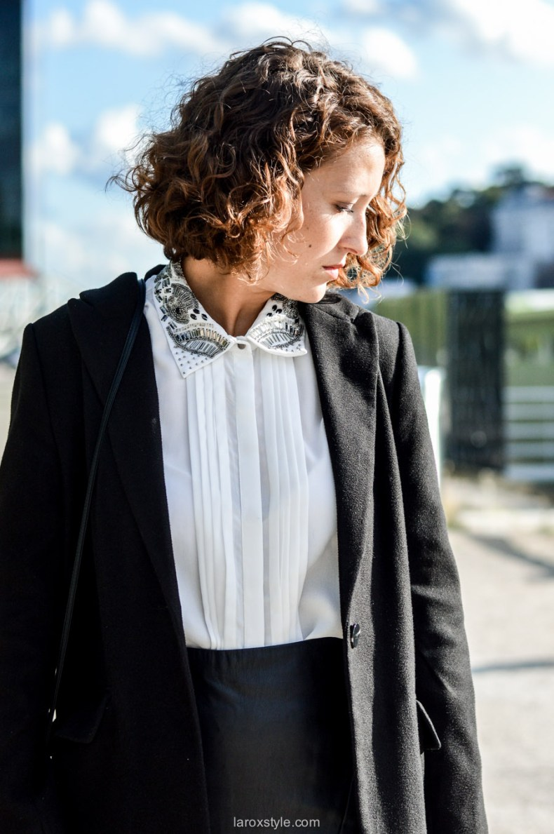 look working girl - jupe simili cuir - chemise strass - laroxstyle blog mode lyon-1