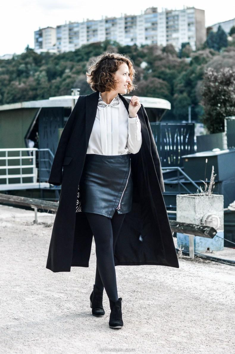 look working girl - jupe simili cuir - chemise strass - laroxstyle blog mode lyon-7.jpg